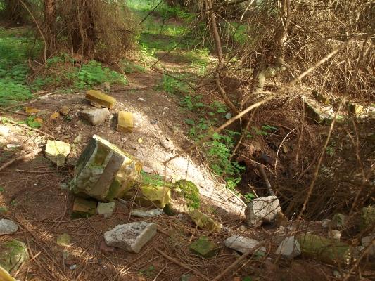 Carinhall heute. - Foto zeigt tiefes Loch mit groben Stein-Brocken. Bunker- oder Kellereingang unten am Döllnsee ist klar erkennbar.