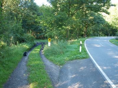 Straßenkurve bei Wildau / Werbellinsee. Der Weg links führt in eine wunderschöne Schorfheide-Gegend und kann als alternative Route zur Silke-Buche dienen.