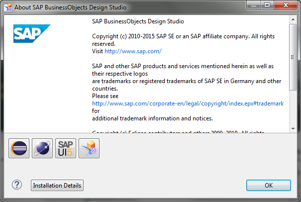 SAP Design Studio About Installation Details