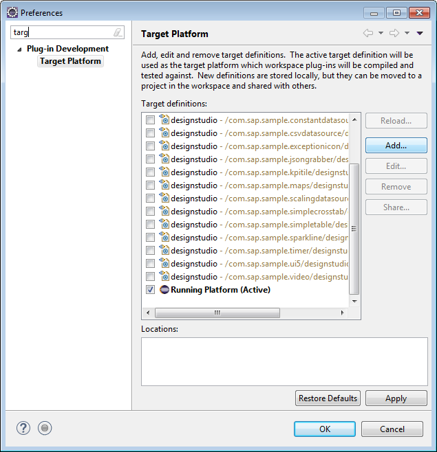 Eclipse Preferences Target Platform