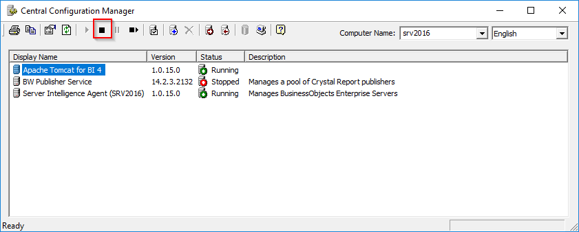 Central Configuration Manager stop Tomcat server