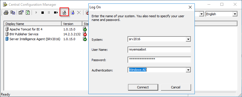 Central Configuration Manager Log On Test