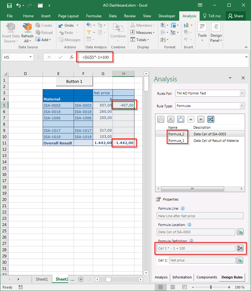 SAP Analysis for Office Design Rules tab