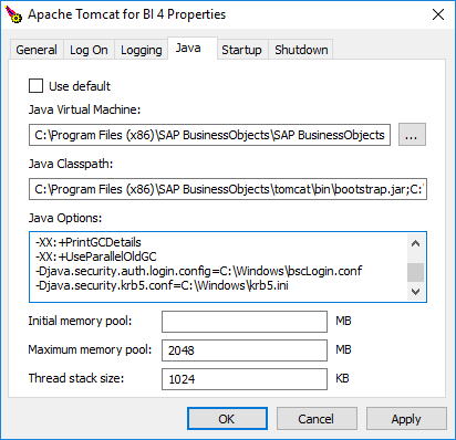 Tomcat add Java options