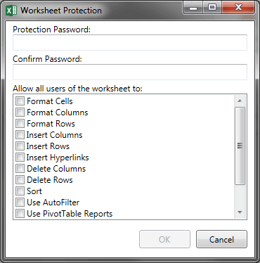 Analysis Office Protect Workbook Options
