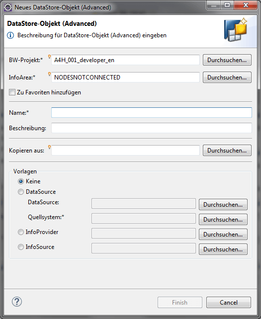Create new Advanced DSO