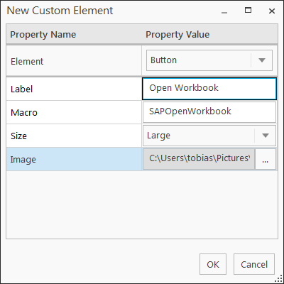 SAP Analysis for Office Customize User Interface add new element