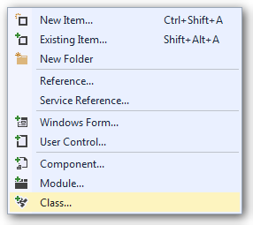 Visual Studio Add new class