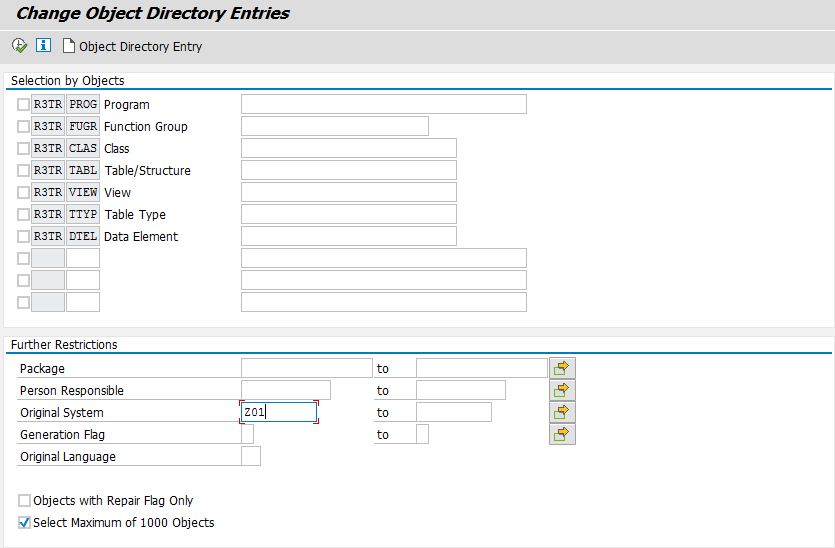 Change Object Directory Entries Restrictions