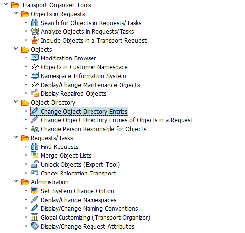 SE03 Change Object Directory Entries