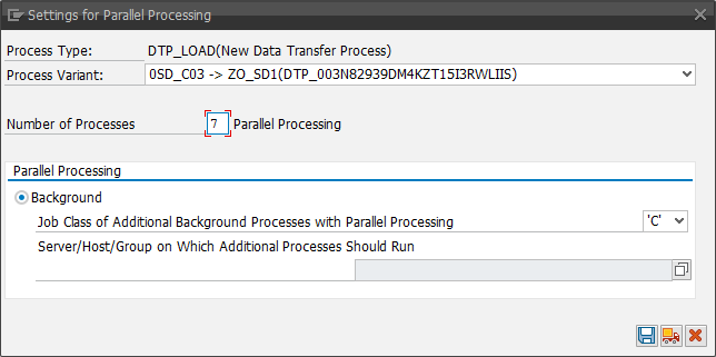 DTP settings for parallel processing