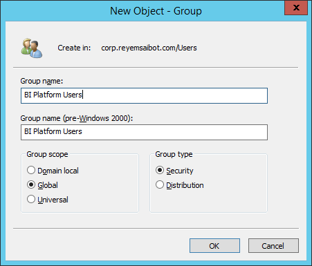 Active Directory create group