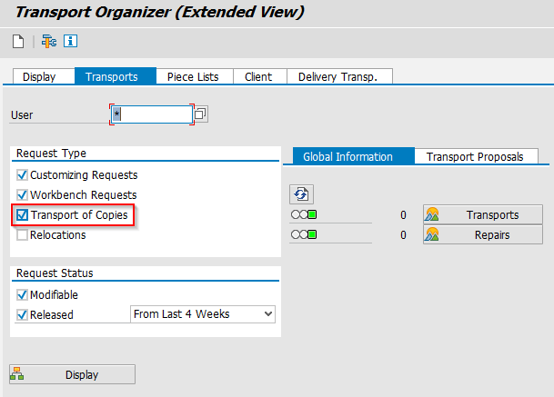 SAP BW Transport Organizer