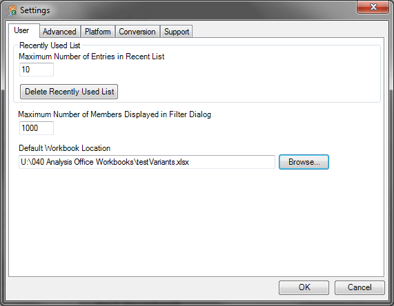 Analysis Office Default Workbook Location
