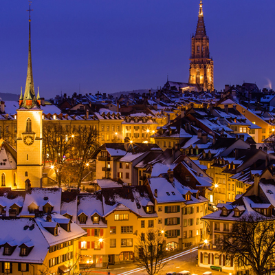 Berne - old town - Winter time by night - UNESCO