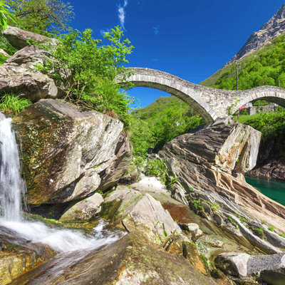 Valley Verzasca - double stone bridge