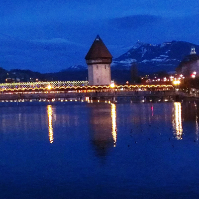 Lucerne - Kappel bridge - Christmas lights