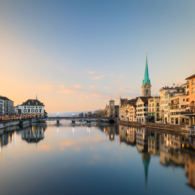Zurich - Limmat River & St. Peter Church