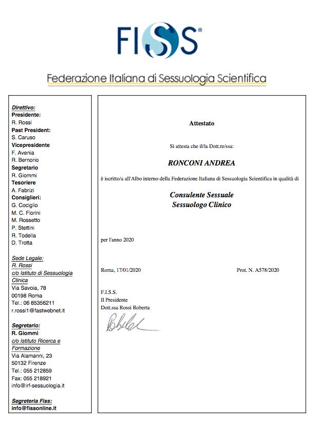 Albo FISS, sessuologo consulente, sessuologo clinico , Dr Andrea Ronconi