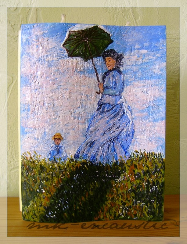 Frau mit Sonnenschirm nach Monet