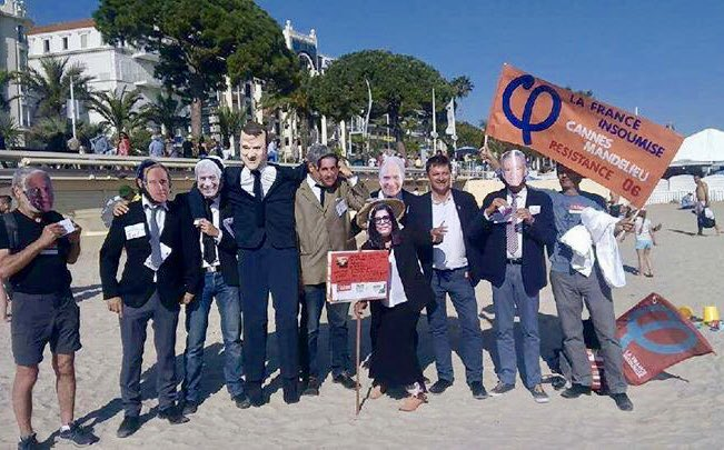 Tractage contre la fraude fiscale et paillassou avec les insoumis.e.s de Cannes sur la plage de la Croisette