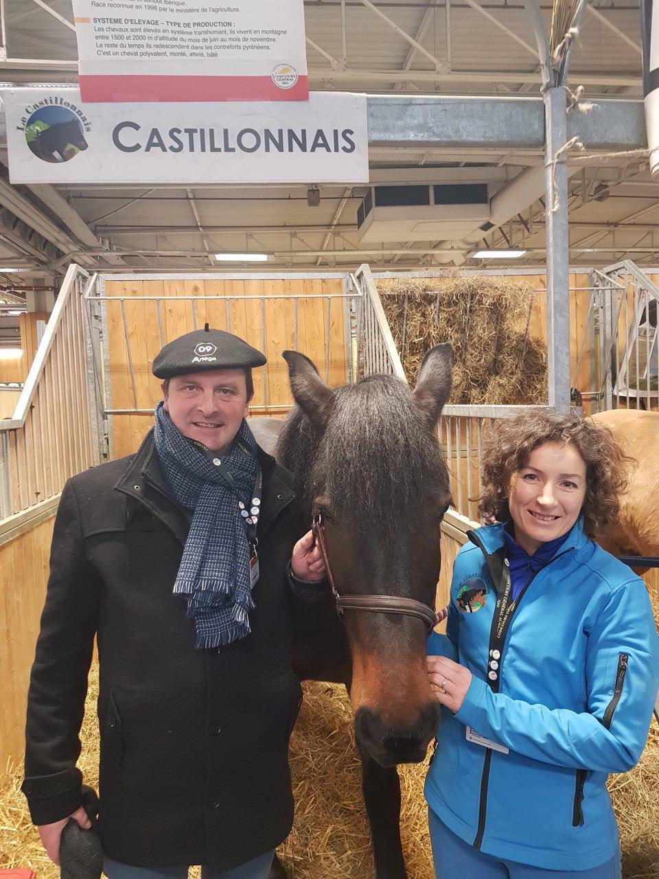Sur le stand du Cheval Castillonnais: rencontre avec les éleveur.se.s et Calypso, une jument de la race.