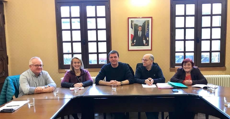 À Mirepoix avec une partie du conseil municipal.
