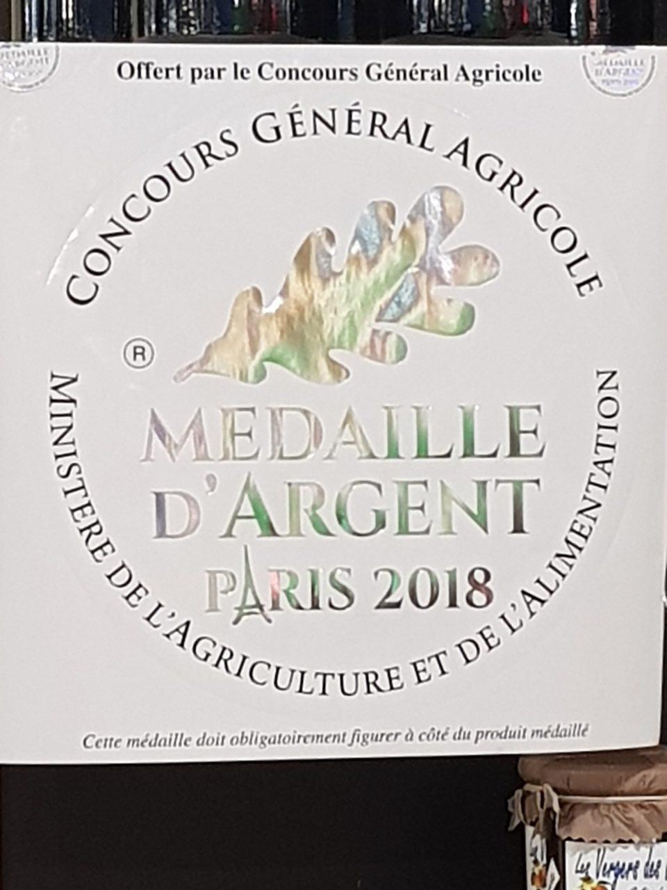 Vin ariégeois, médaillé d'argent 2018 par le Ministère de l'Agriculture et de l'Alimentation.
