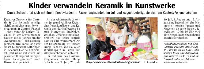 Die KeramikZeit im Casterix-Ferienprogramm 2009. (Quelle: WAZ vom 09.06.2009)