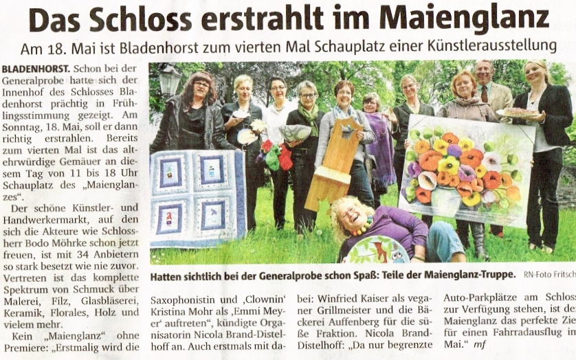 Die KeramikZeit beim Maienglanz 2014 im Schloss Bladenhorst Castrop-Rauxel. (Quelle: Ruhr-Nachrichten vom 16.05.2014)