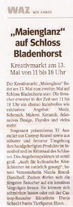 Die Keramikzeit beim Maienglanz 2012 im Schloss Bladenhorst Castrop-Rauxel. (Quelle: WAZ vom 03.05.2012)