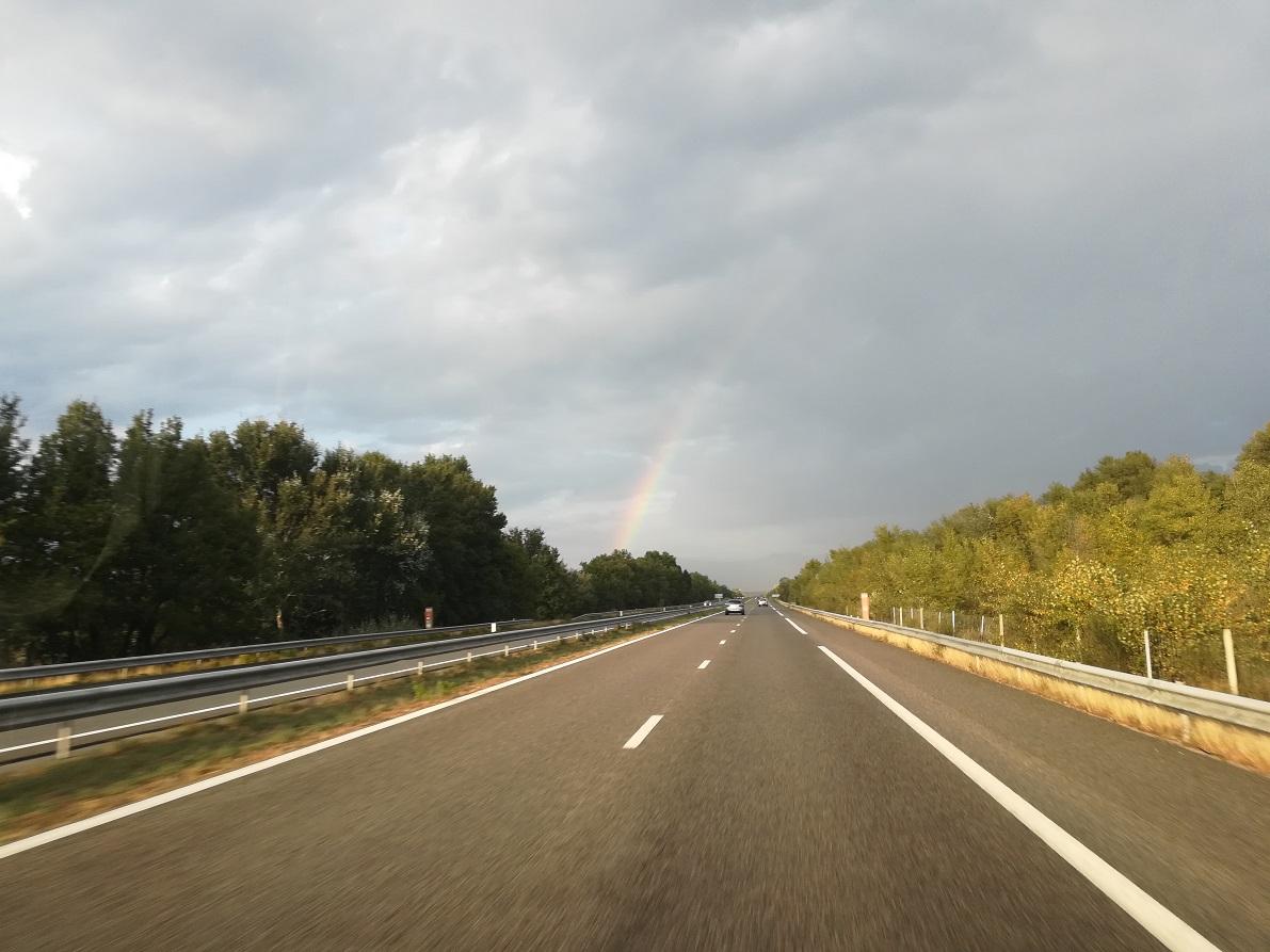 1-La veille, sur la route, un joli arc-en-ciel