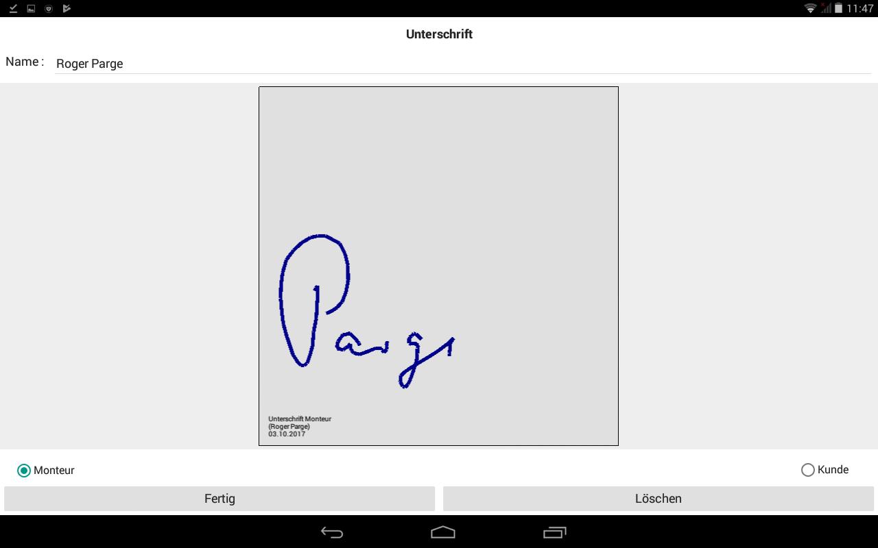 PDF Dokument mit Unterschrift Monteur