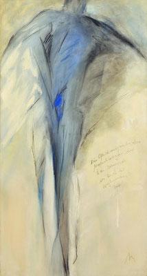 o. T.  Acryl, Stifte auf Lw 140 x 75 cm