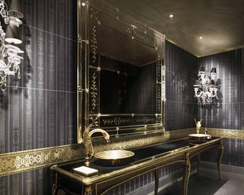 Black & golden bathrom