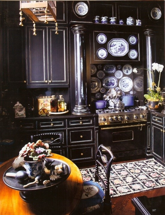 Black skitchen with china porcelain