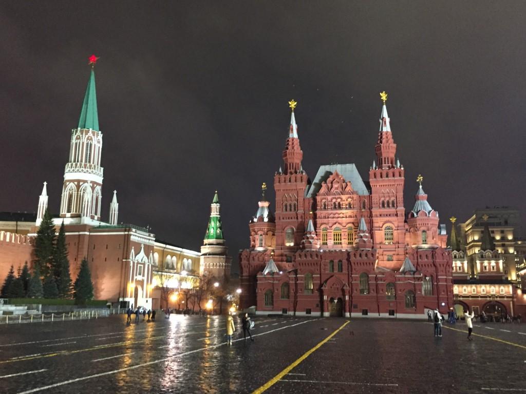Moskau, Roter Platz, Nikolausturm, Historisches Museum, bei Nacht, nachts
