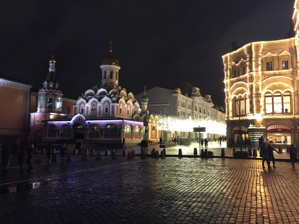 Moskau, Roter Platz, Kasaner Kathedrale, bei Nacht, nachts, Nikolstraße