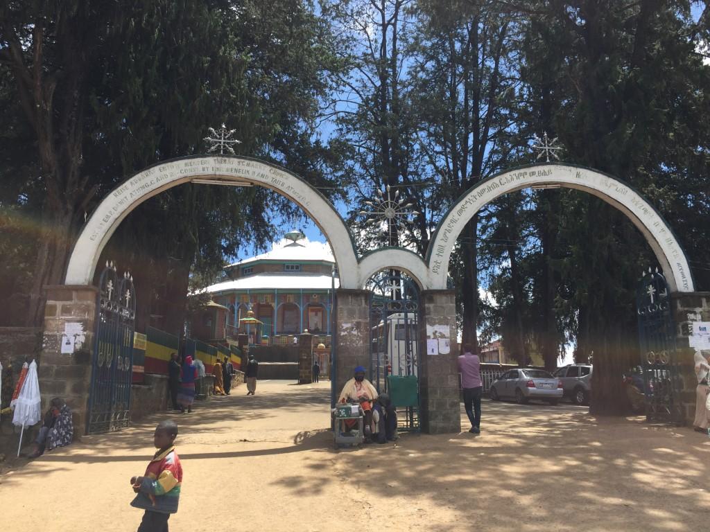 Entoto, Addis Abeba, Eingang zur Kirche, Palast und Museum