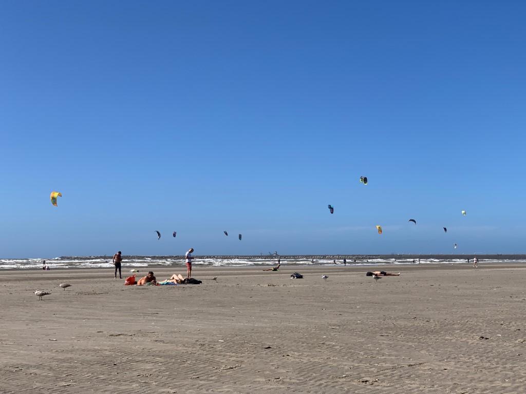 Niederlande, Holland, Amsterdam, Strand, Ijmuiden, Nordsee, baden, Kite surfing,