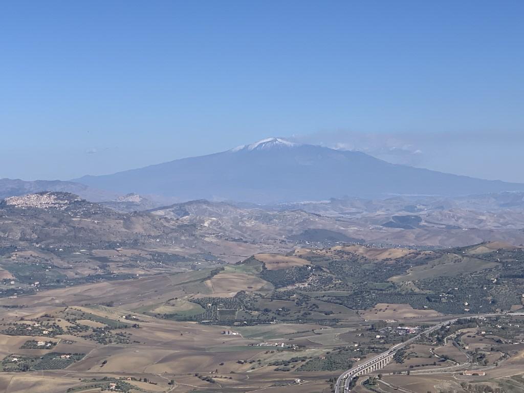 Italien, Sizilien, Sehenswürdigkeit, Enna, Berg, Dorf, Burg, Aussicht, Ätna