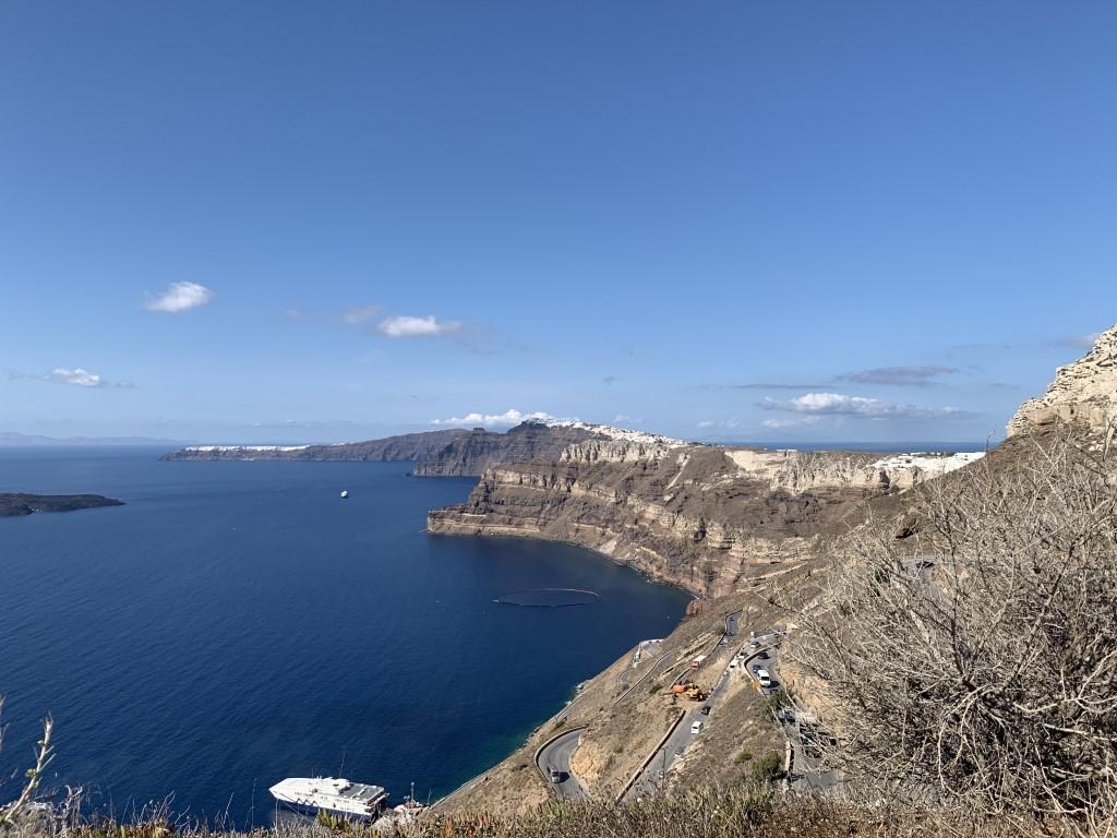 Santorini, Fährhafen, Fira und Oia, New Port, Fähre, Serpentinen, Griechenland , Caldera