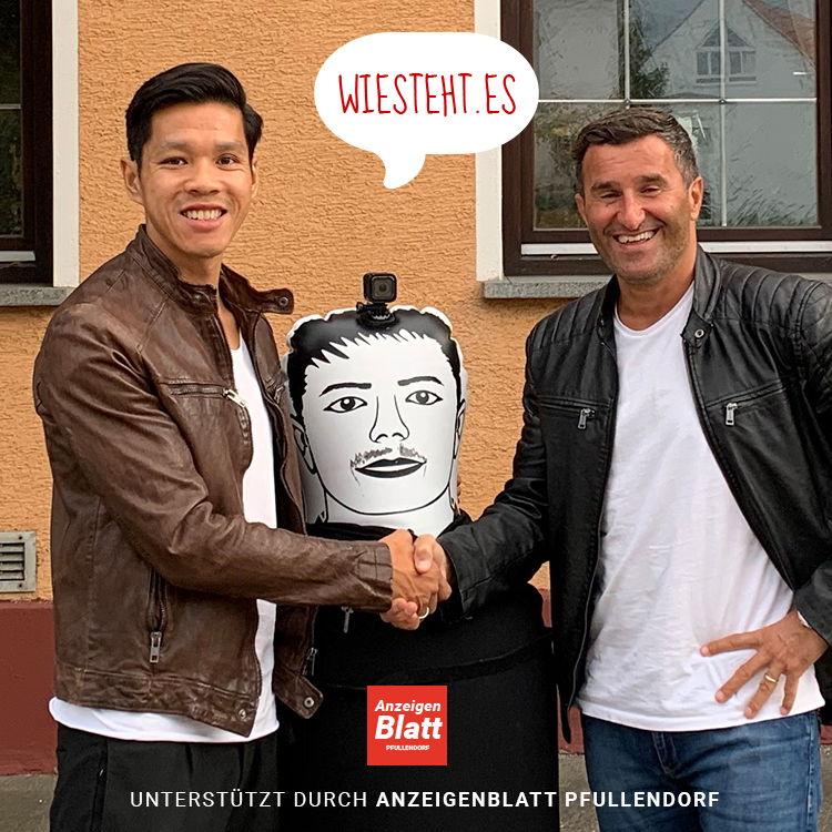 links Hoan Luu (Gründer Wiestehtes.com), mitte AirBro, rechts Corc Taraca (Vorstand FC Aramäer Pfullendorf)