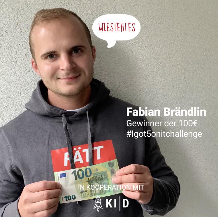 Fabian Brändlin,  Gewinner der #Igot5onitchallenge eSport Mai 2021