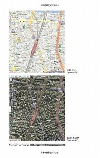 神田界隈地図、航空写真(2014)