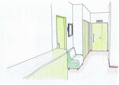 診療所(クリニック)、リフォーム、廊下スケッチ