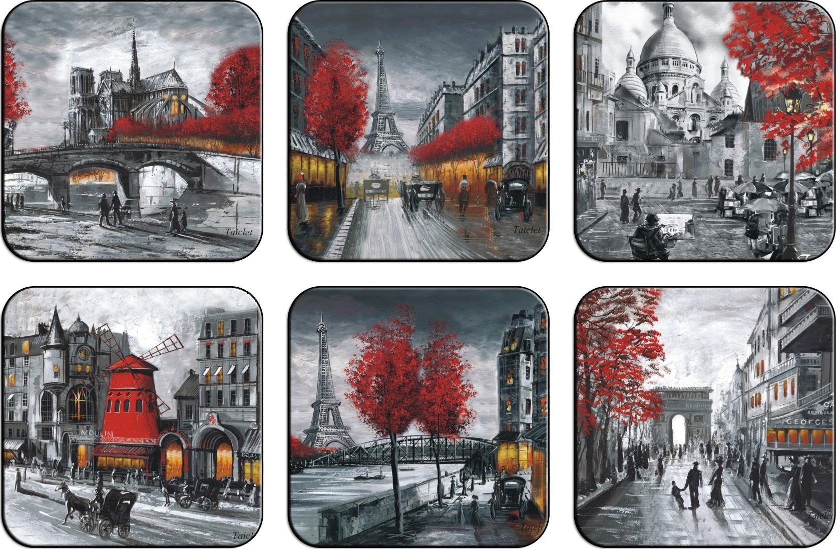 Dessous de verre paris souvenirs de paris aquarelle for Set de table verre