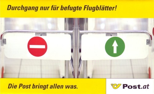 Aktueller Flyer der österreicischen Post: Werbeverzichter sollten besser nicht drauf reinfallen
