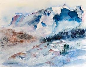 Aquarelle du Mont-Blanc dans les Alpes