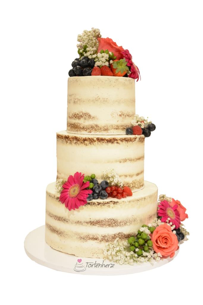 Semi Naked Cake mit Blumen und Früchten